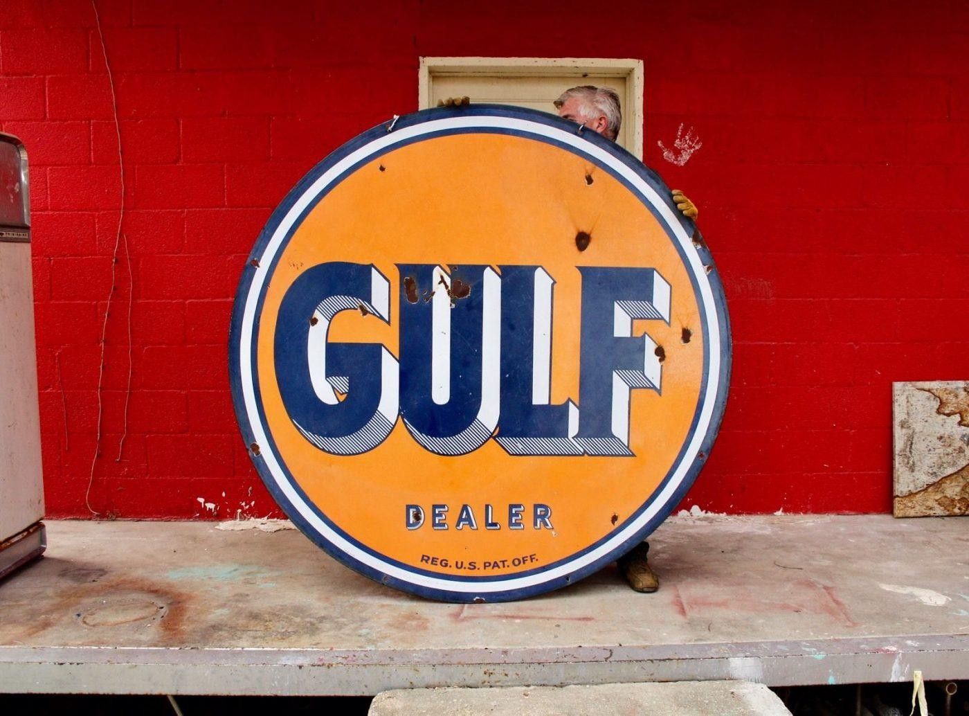 Original 1950's Porcelain Gulf Dealer Advertising Sign!